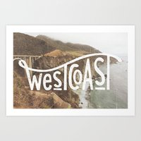 west coast Art Prints featuring West Coast by cabin supply co