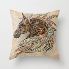 Southwest Horse Beige Grunge Throw Pillow