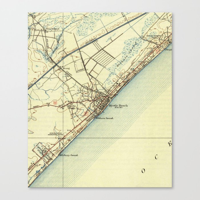 image regarding Printable Map of South Carolina titled Traditional Map of Myrtle Seaside South Carolina (1940) Canvas Print by means of bravuramedia