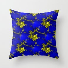 Cobalt Blue and Gold Fractal Throw Pillow