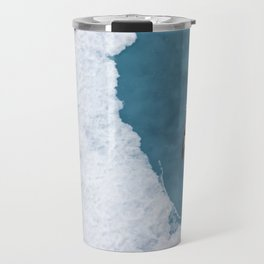 Top view of a bird Parasitic jaeger - Arctic Skua flying over the ice in the Arctic Ocean. Travel Mug