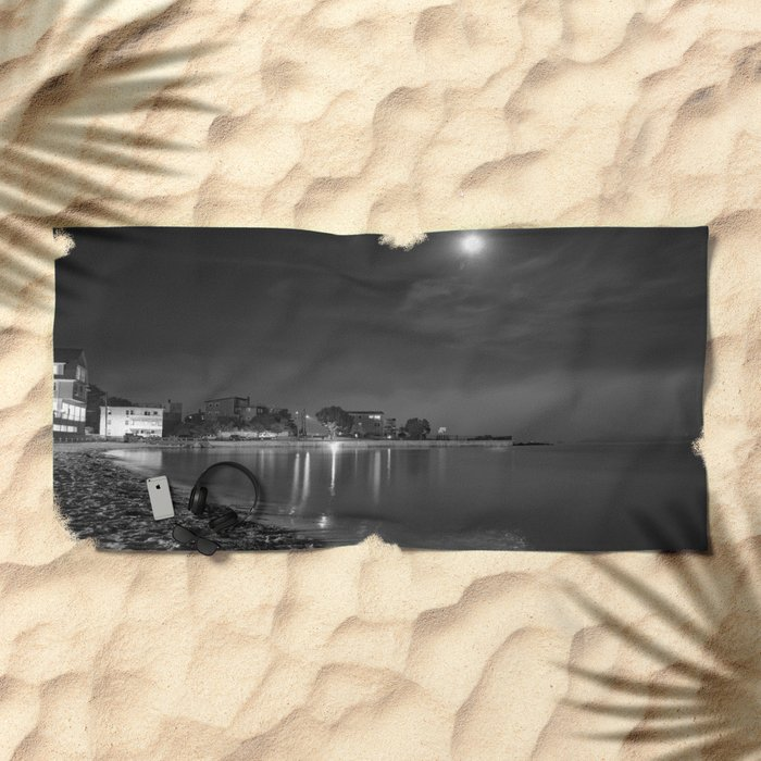 Foggy Moonlit Beach B&W Beach Towel