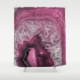Purple and pink agate mineral gem stone - Beautiful backdrop Shower Curtain