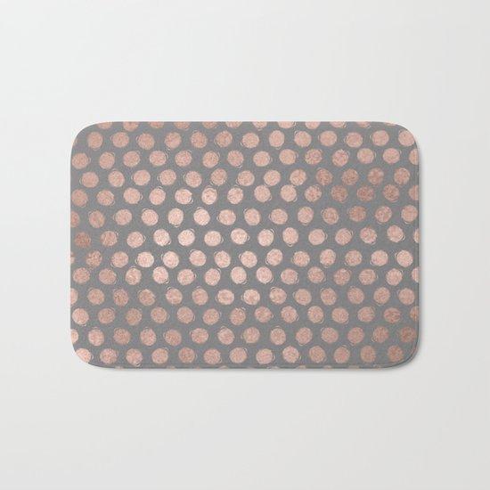 Handpainted Rosegold polkadots on grey background Bath Mat