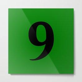 9 (BLACK & GREEN NUMBERS) Metal Print