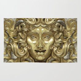 """Ancient Golden and Silver Medusa Myth"" Rug"