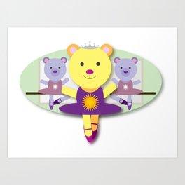 Ballerina Bear Cartoon Art Print