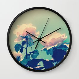 Soft Baby Pink Roses with Mint Blue Sky Backgroud Wall Clock