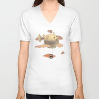 gorillaz V-neck T-shirts featuring Panda fliying in a Blow fish 2 by Barruf