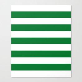 La Salle green - solid color - white stripes pattern Canvas Print