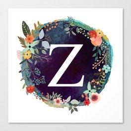 Personalized Monogram Initial Letter Z Floral Wreath Artwork Canvas Print