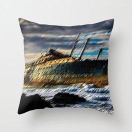 The Spirit of America Coastal Shipwreck Landscape by Jeanpaul Ferro Throw Pillow