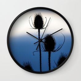 thistle silhouette blue sky Wall Clock