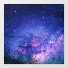 Blue Purple Night Sky, Universe, Galaxy Canvas Print
