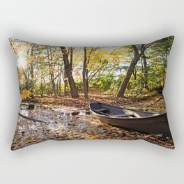 Fall Pond And A Boat Rectangular Pillow