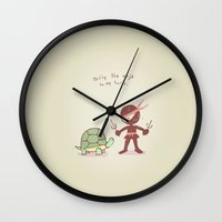 ninja turtle Wall Clocks featuring ninja turtle  by Curryswagg Designs