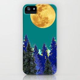 BLUE FOREST TEAL SKY MOON LANDSCAPE ART iPhone Case