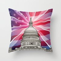 politics Throw Pillows featuring The World of Politics by politics
