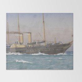Vintage British Royal Yacht Illustration (1870) Throw Blanket