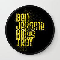 caleb troy Wall Clocks featuring Ben Jerome Hines Troy / Black by Brian Walker