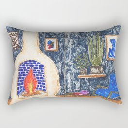 Colorful Living Room drawing by Amanda Laurel Atkins Rectangular Pillow