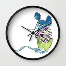 shy mouse Wall Clock