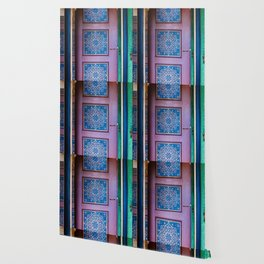 Moroccan painted doors and marble hallway in Marrakech, Morocco Wallpaper