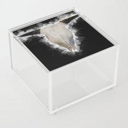 Bull Skull Black Background Acrylic Box