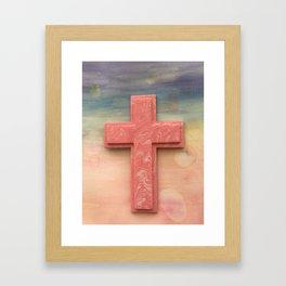 Pink Cross Watercolor Framed Art Print