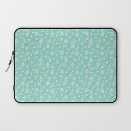 Seafoam Blue Green Christmas Snowflakes Laptop Sleeve