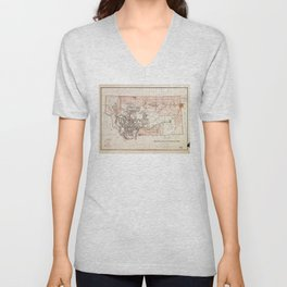 Map of Montana Territory by Charles Roeser (1879) Unisex V-Neck