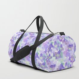 Hand painted watercolor violet lilac lavender green floral Duffle Bag