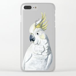 White and yellow watercolor cockatoo portrait Clear iPhone Case