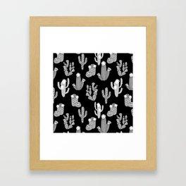 Cactus linocut black and white minimal desert southwest socal joshua tree Framed Art Print