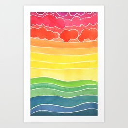 The Sky is Happy Watercolor Painting Art Print