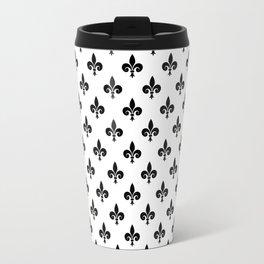 Black French Fleur de Lis on White Travel Mug