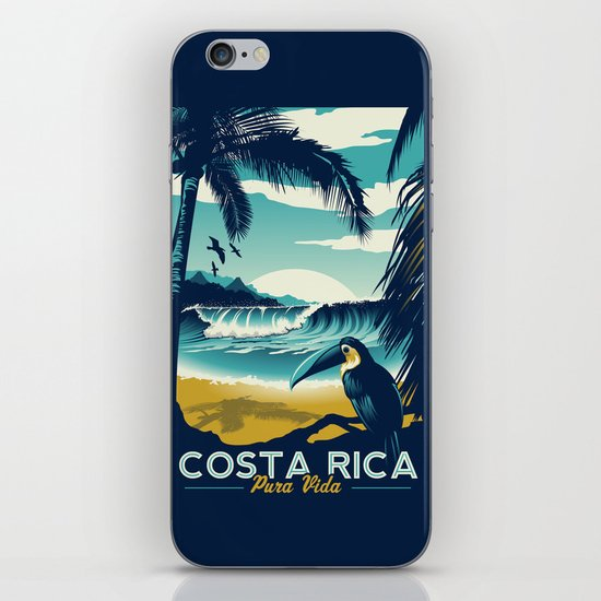 Costa Rica Retro Vintage Travel Poster Toucan Wave Surf Palm Trees by retroprints