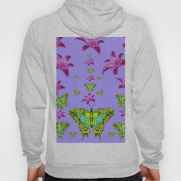 GREEN MOTHS & PURPLE LILIES LILAC COLOR Hoody