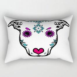 Sugar Skull Amstaff Dog Rectangular Pillow