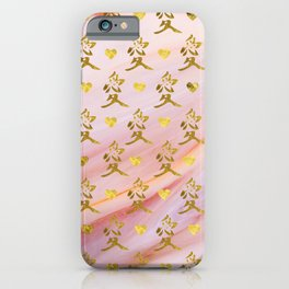 Gold Chinese Love symbol on rose marble iPhone Case