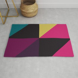 Triangle Shapes Texture, Retro Style, Purple, Turquoise, Yellow, Pink and Black Rug