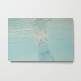Underwater Swimmer Ethereal Abstract Film Photograph Summer Print Metal Print