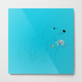 Blue Dachsund Love Metal Print