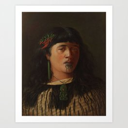 Portrait of a Young Maori Woman with Moko by Louis John Steele, 1891 Art Print