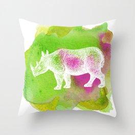 Color Spot Safari Rhinoceros Throw Pillow