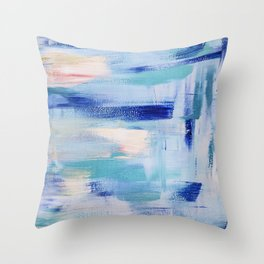 Electric blue waves: minimal, acrylic abstract painting in cobalt, cyan and peach / Variation Two Throw Pillow