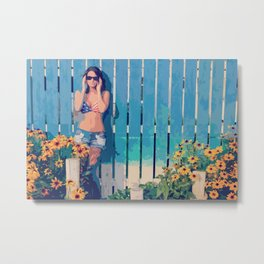 By The Fence Metal Print