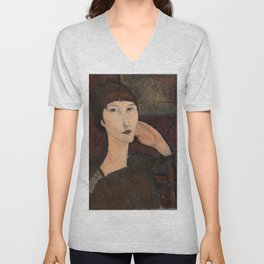 "Amedeo Modigliani ""Adrienne (Woman with Bangs)"" (1916) Unisex V-Neck"