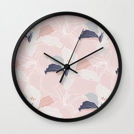 Tropical Blush Floral Wall Clock