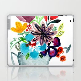 Watercolor Floral Bouquet in Watering Can Laptop & iPad Skin